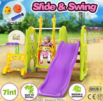 7in1 Kids Toddlers Play Toy Swing Slide Basketball Ring Hoop Activity Center Set