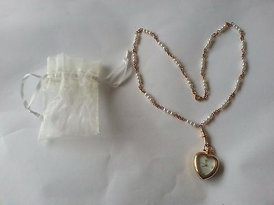 Heart-shaped Watch Pendant Necklace - Pearl chain