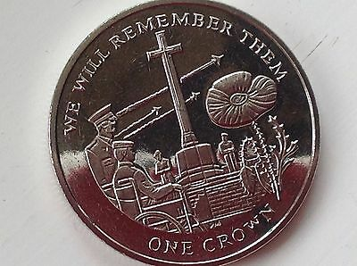 """2014 Falkland Islands ER II unc. Crown coin-""""We will remember them"""""""