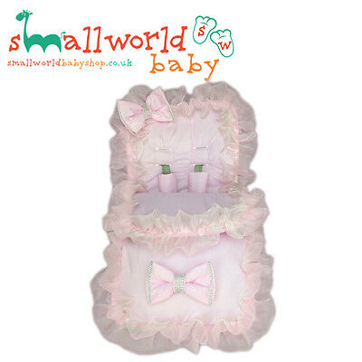Personalised Girls Pink Frilly Bling Footmuff Cosytoes (NEXT DAY DISPATCH)