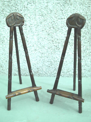 Antique Pair Of Chinese Carved Wooden Table Easel Painting Stands
