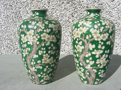 Antique Pair Of Chinese Green Famille Japanese Prunus Vases Signed