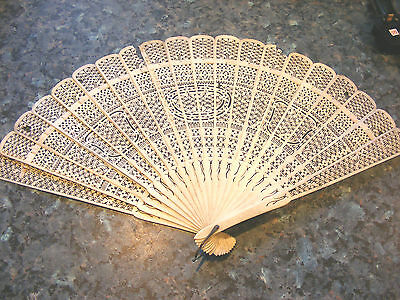 Antique Chinese Canton Carved Filigree  Court Face Fan