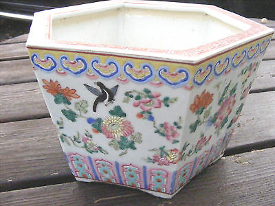 Antique Chinese Famille Rose Planter Jardiniere  Hexagonal