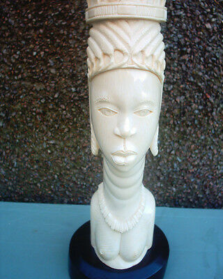 Rare Large Antique African Carved  Bust With Head Dress