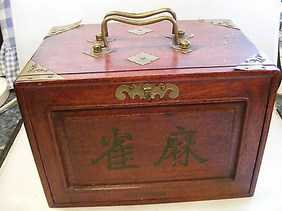 Antique Chinese Mahjong Dovetail Set Bamboo Wooden Cased