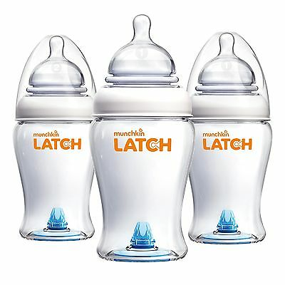 Munchkin Latch BPA-Free Baby Bottle, 8 Ounce, 3 Pack, New, Free Shipping