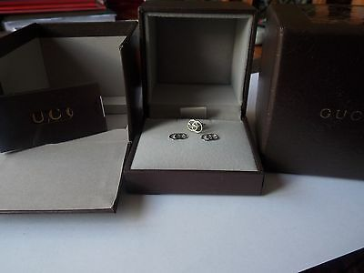 "Authentic GUCCI ""GG"" Logo Icon Design Earrings x 3 in 18K White Gold"