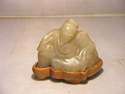 Antique Chinese Celadon Jade Carving With Wooden Plinth And Seal