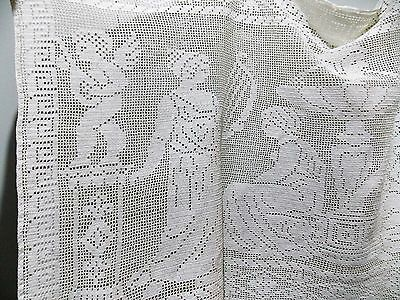 Immaculate Vintage Hand Crotcheted White Cotton Lace Oblong Curtain