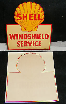 SHELL GAS & OIL WINDSHIELD SERVICE DECAL SIGN AUTHENTIC VTG 1950s Unused