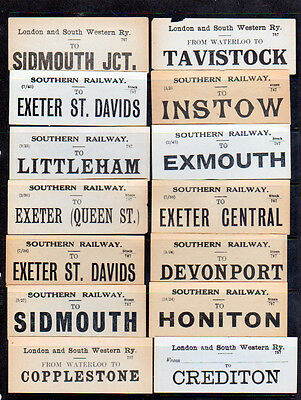 Railway Labels London & south Western + Southern Railways see scans for stations