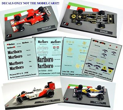 Set of 4 DECALS for the Formula 1 Car Collections WILLIAMS FERRARI LOTUS McLAREN