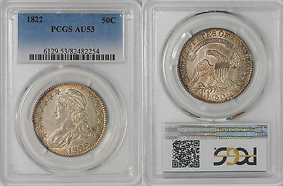 1822 Bust Half Dollar PCGS AU 53 - Antique Toning