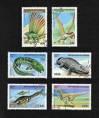 Benin 1996 Prehistoric Animals complete set of 6 values (SG 1419-1424) used