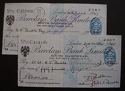 Cheques ~ 2 x Barclays Bank, South Hampstead. 1945/7