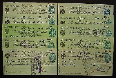 Cheques ~ 10 x Barclays Bank, South Norwood. 1949-53