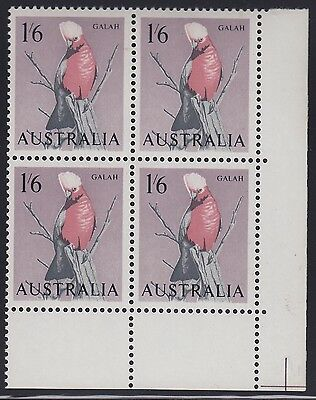 1964 1s6d bird, ordinary paper, corner block of 4 with variety, mnh/mh