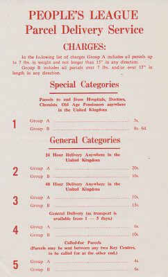 Peoples League Leaflet Describing the Charges for the Delivery Service See Scans
