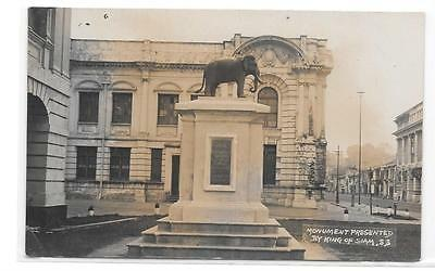 Singapore Photo Postcard Of Elephant Monument Presented By King Of Siam.