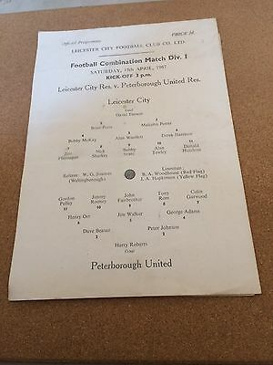 1966/67 Reserves Leicester City v Peterborough United 15/4/67