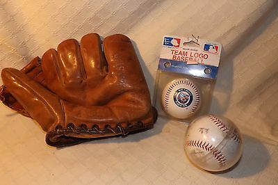 Vintage Baseball Lot Glove and Balls - All Star Cowhide