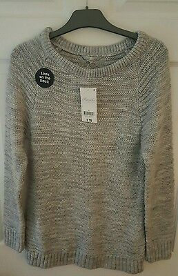 Lovely Ladies Top Jumper Peacocks Size S 8-10 Grey Knitted Long Sleeve