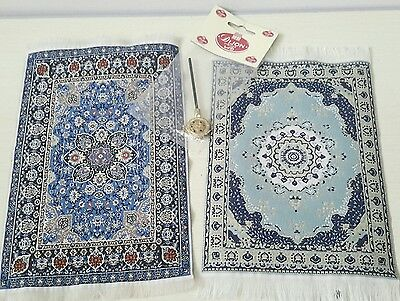 Dolls House Miniature bundle 2 Large Blue Rugs + Carpet Beater lot