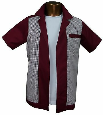 1950s/1960s Rockabilly ,Bowling, Retro, Vintage Men's shirt, 'New' Burgundy