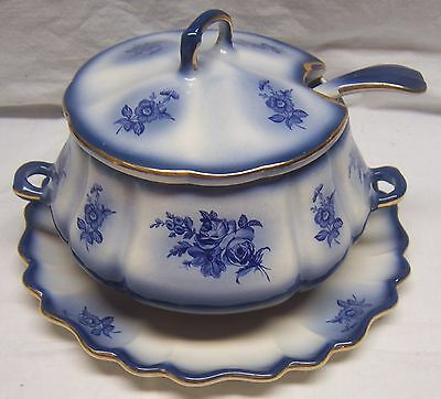 Beautiful Vintage Blue Floral Imperial Pottery 4 Pc Soup Tureen W/ Gold Trim