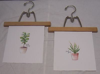 """2 Repurposed 10"""" Wooden Clamp Style Pants Hangers - Use To Display Photos & Art"""