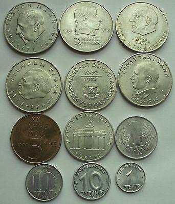 East German 20 mark Lot of 12 coin up 1949 XF--- UNC