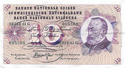 Switzerland 10 Francs  15.1.1969  Series 61 G  circulated Banknote BjW9