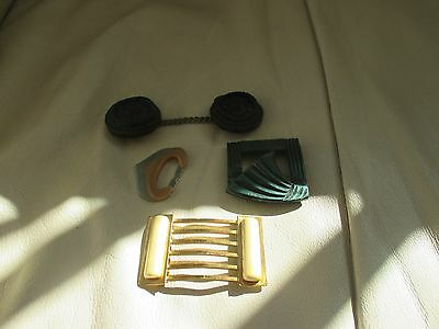 A nice vintage lot of Art Deco buckles and cape clasp.