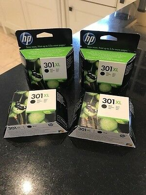 4 X HP 301XL Black Ink Cartridges - Genuine & New (Exp March 19)