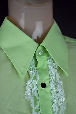 Phillips of Melbourne vintage ruffled green formal shirt 15.5/39/med-sml + cuffs