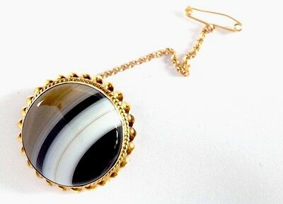 Antique Heavy 9ct Gold Banded Agate Cabochon Brooch With Safety Chain