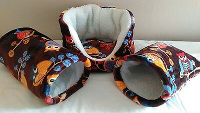 BARGAIN-guinea pig / rat / hamster / pygmy hedgehog -Snuggle bed, tunnel & pouch