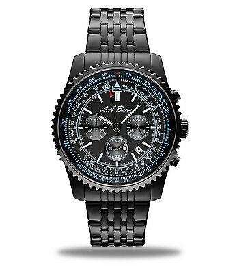 Mens La Banus Black Boss Chronograph Wrist Watch Stainless Steel New With Tag Uk