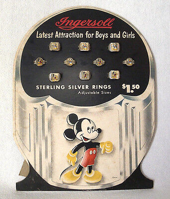 1940's Ingersoll Watch Co Mickey Mouse Donald Duck Ring Display in Original Box