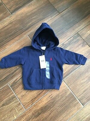 Polo Ralph Lauren Baby Navy Hooded Top Hoody Navy