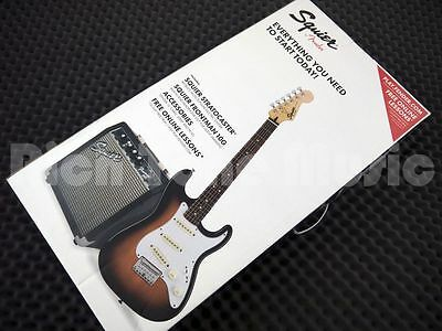Squier by Fender Stratocaster Electric Guitar Pack, Short-Scale - Brown Sunburst