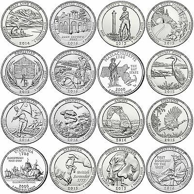16 US National Park Quarters Full set of 2015 & 2016 Read Details pls