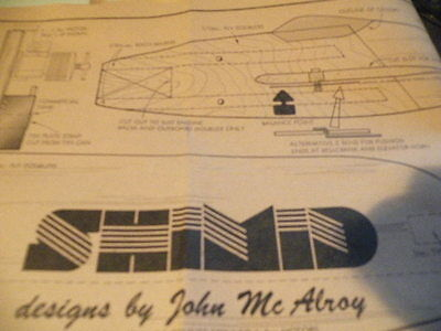 JOHN McALROY  DESIGNED PLAN OF THE SHIMID 24 INCH CONTROLINE TRAINER