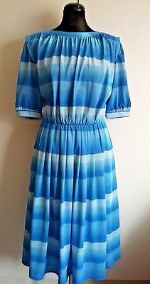 Vintage 1980's Elegant Graduated Blue Stripe Secretary Tea Dress UK 10 12