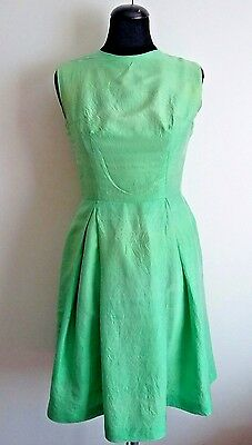Vintage 1950's / 60's Apple Green Shiny Silk Fitted Summer Swing Tea Dress UK 8