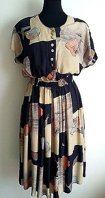 Vintage 1980's Beige Navy Blue Rust Print Shirt Waist Summer Tea Dress UK 8 10