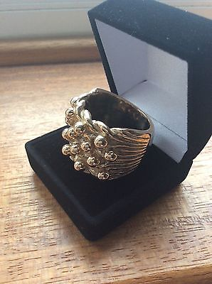 LARGE RING-SOLID 9CT GOLD- keeper ring -SIZE X HEAVY 45.3 gms -HALLMARKED