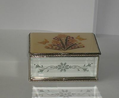 Mother of Pearl - Silver - Glass Inlaid Treasure Trinket Jewellery Box