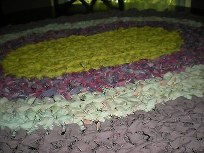 Crochet oval rag rug, mat, ,yellow, pinks and mauve  Bath, cottage, country.